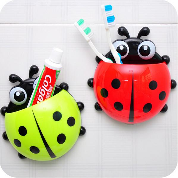 New Bathroom Sanitary Kids Cartoon Animal Sucker Ladybug Wall Mounted Toothbrush Holder Suction Cup best deal WC5