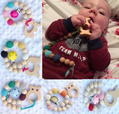 Infant Pacifier Clips Baby Natural wooden Teethers Holder Chain beads Crochet covered beads Safe for teething 10colors