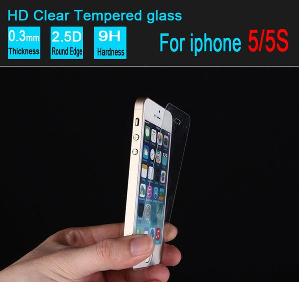 For iPhone 5 5s Tempered Glass Screen Protectors Film For Iphone 4 4s Apple 5 5s without retail box 1000pcs