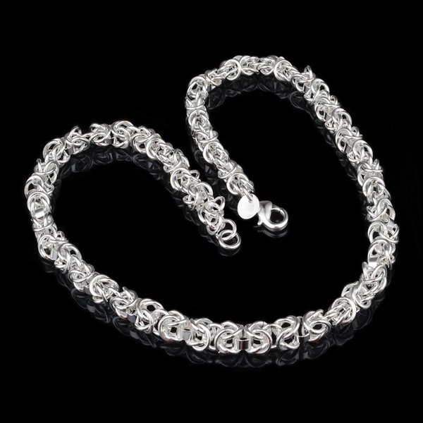 SALE! New 925 Sterling silver Filling Male Faucet Necklace XMAS gifts 7MM 10MM 18 inch fashion jewelry 10pcs/