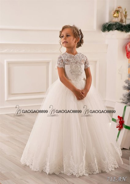 top popular Lace Beaded Little Girls Pageant Dresses Wedding Party Holiday Bridesmaid Birthday Tulle Lace Ivory Flower Girl Dress 2020