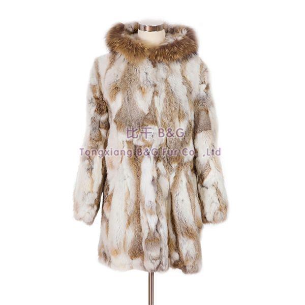 BG5947 Fashion 2014 Genuine Rabbit Fur Coat with Raccoon Dog Fur Collar Wholesale Winter Warmer Fur Coat