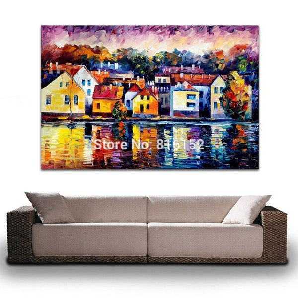 Modern Palette Knife Oil Painting Attractive Western Architecture Picture Printed on Canvas for Living Room Office Wall Decor