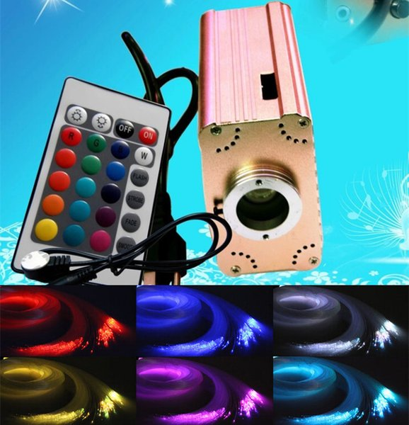 RGB colorido plástico LED Kit de techo de la estrella de fibra óptica Luz 150pcs 0.75mm 2M + 16W RGB luces de fibra óptica del motor + 24key novedad Luz remoto
