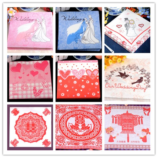 New Wholesale table paper napkins tissue printed love heart pattern Paper-cut art red decoupage home hotel wedding party cocktail decorative