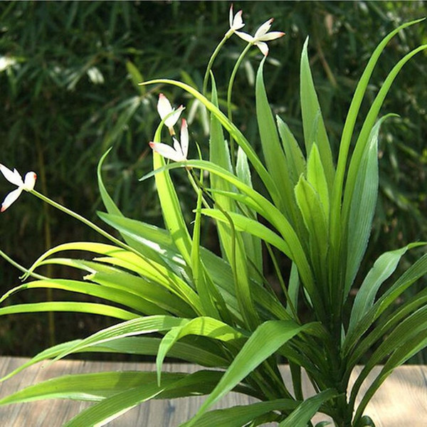 26 Leaf 34cm 4pcs Plastic Artificial Orchid Evergreen Plant Tree Wedding Home Office Furniture Decor No Vase Green