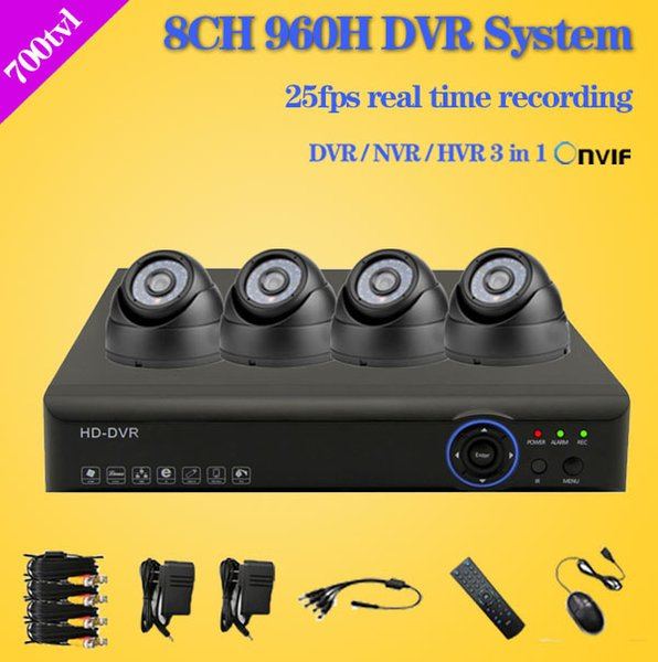 8channel full 960h cctv video surveillance system 4pcs 700tvl dome indoor camera 8ch dvr kit hdmi 1080P for Zmodo security