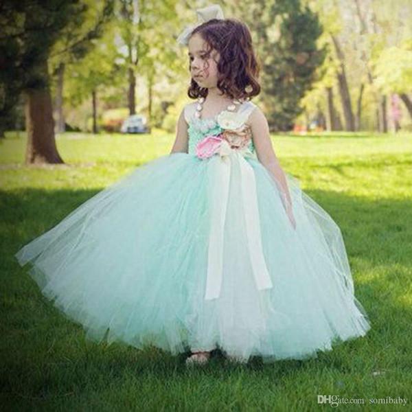 Online Cheap Hot Mint Green Flowers Girls Dresses For Wedding Satin ...