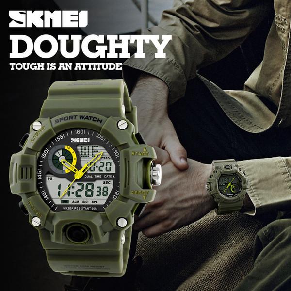 SKMEI marca Reloje Hombre Style Digital Dual s relojes de choque Relojes Hombre moda hombre relojes deportivos Luxury Brand Military Army