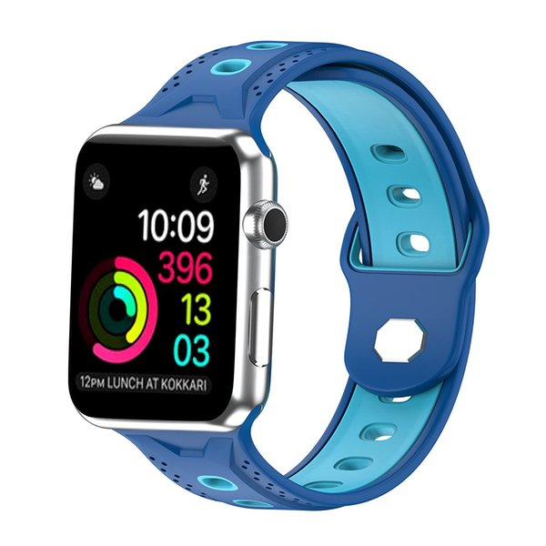 Replacement Silicone Sport Band Strap Wristband for 38mm / 42mm Apple Watch iwatch Series 3 2 1, Blue/Sky Blue