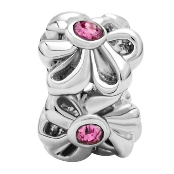New Arrival Wholesale Oct Birthstone Rose Pink Crystal Flower Floral girls Beads Charms Fit Pandora Bracelet