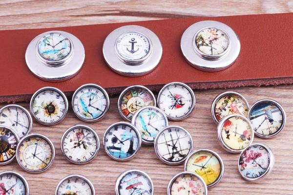 JACK88 Wholesale Mix Style Clock 12mm Mini Glass Snaps 60pcs/lot Ginger Snap Button Charm Fit Bracelet Jewelry Charm M697