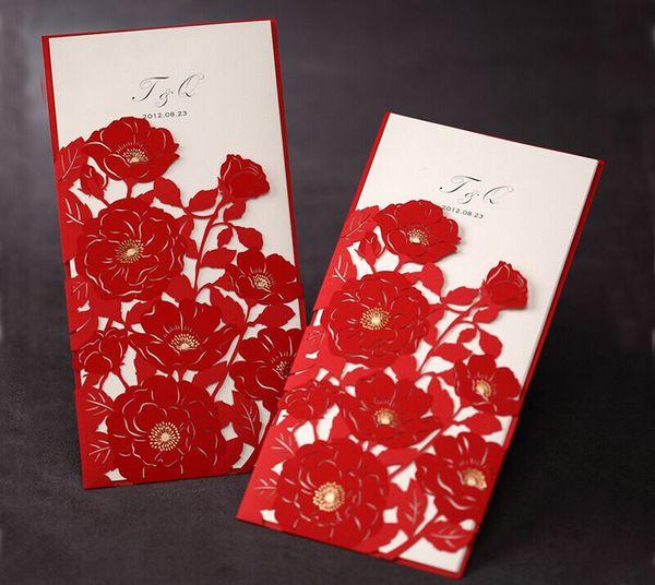 Elegant Wedding Invitation Red Elegant Handmade Laser Cut Chinese Wedding Invitation Card Printable 60th Wedding Anniversary Invitations Alice In