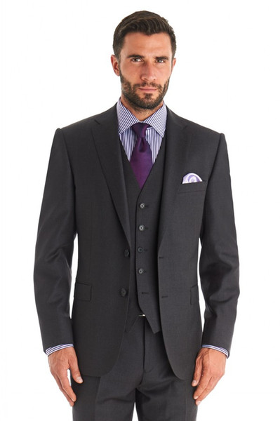 Mens Suits Dark Grey Notched Lapel Tuxedos Wedding Suits For Men