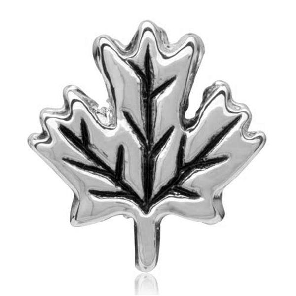 Fashion women jewelry metal loose charms maple leaf travel European spacer bead charm fits Pandora bracelet