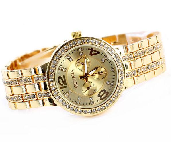 Oro / plata / oro rosa Geneva Watch Metal relojes de pulsera de cuarzo para hombres mujeres Unisex lujo Geneva Crystal relojes