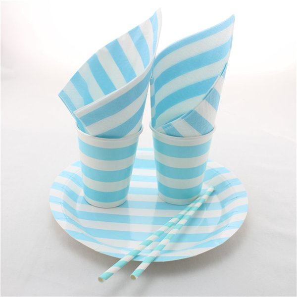 Baby Shower Party Favor Baby Blue Striped Disposable Paper Straws Cups Paper Napkins Paper Plates & Baby Shower Party Favor Baby Blue Striped Disposable Paper Straws ...