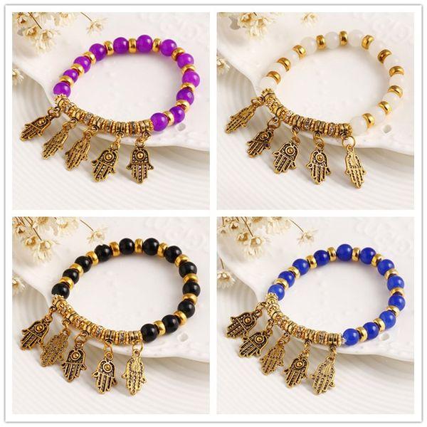 Fatima Hamsa Hand Eye diamante beade Bracelets Turkey Evil Eye Charm Bracelet Lucky Pendent Adjustable Bracelet Women Fashion Jewelry
