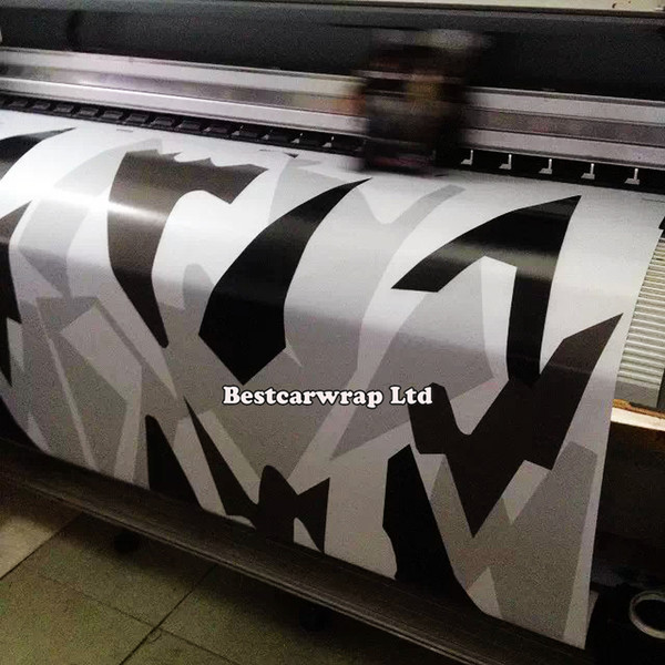 Car styling White / Black camouflage sticker bomb printing car body decoration vinyl wrap roll film 1.52 x 30m/Roll