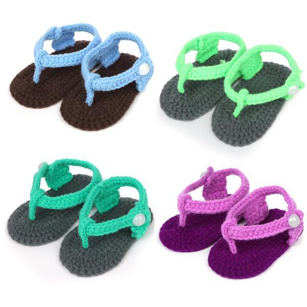 Handmade Baby Sandals Woolen Yarn Crochet Baby Flip-flops Newborn Soft Sole Baby Toddlers shoes Newborn Prewalker