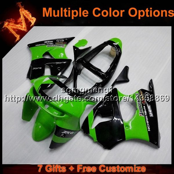 23colors+8Gifts green black motorcycle cowl for Kawasaki ZX-6R 1998-1999 98 99 ZX6R 1998 1999 98-99 ABS Plastic Fairing