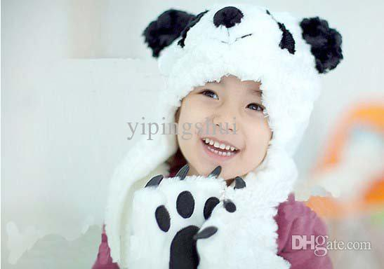 Wholesale-Free shipping,1 sets,2015 new cartoon panda shape the children hats scarves gloves, children cap,Velvet,white