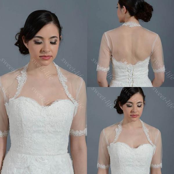 2019 Cheap Wedding Bridal Bolero Jacket Cap Wrap Shrug Avorio Bianco Sheer Manica corta Applique Tulle Custom Made Jacket per Wedding Bride