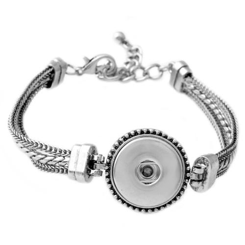 P00610 Wholesale Rivca Snap Buton Stainless Steel Silver High Quality Real Leather Bracelet Fit 18mm Button Snap Button Armband For Women