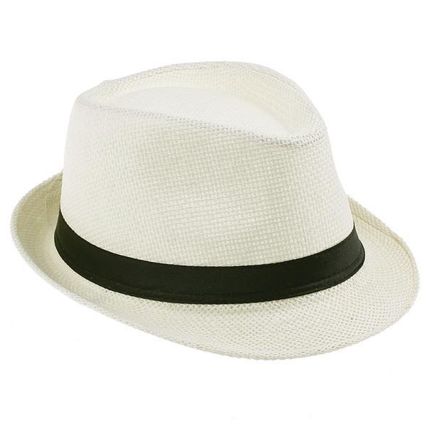 Mode Unisexe Starw Panama Fedora Chapeaux Été Élégant Stingy Brim Beach Voyage Caps Ivoire ZDS6 * 10