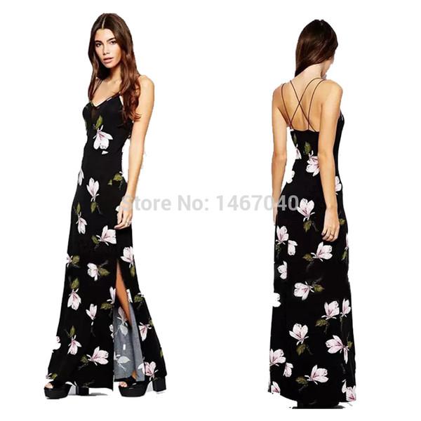 New Fashion Women Orchid Floral Printed Mesh Straps Cross Stitching Deep V-neck Halter Dress Split Maxi Long Slip Dress