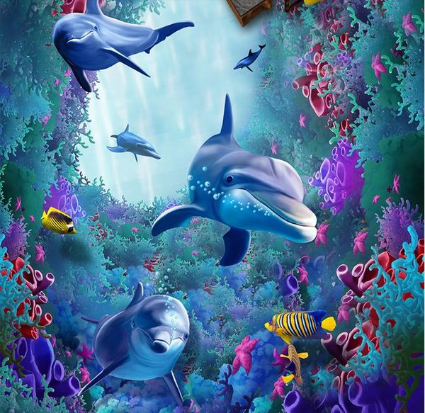 Waterproof Pvc Wallpaper Sea World Dolphins 3d Floor Covering High Resolution Widescreen Wallpaper High Resolution Widescreen Wallpapers From