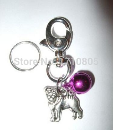 New Hot 30pcs Fashion Vintage Silver Pug Dog&Bell Charm Lobster Clasp Keychain Gifts Fit Key Circle Accessories Jewelry Holiday Gift A155