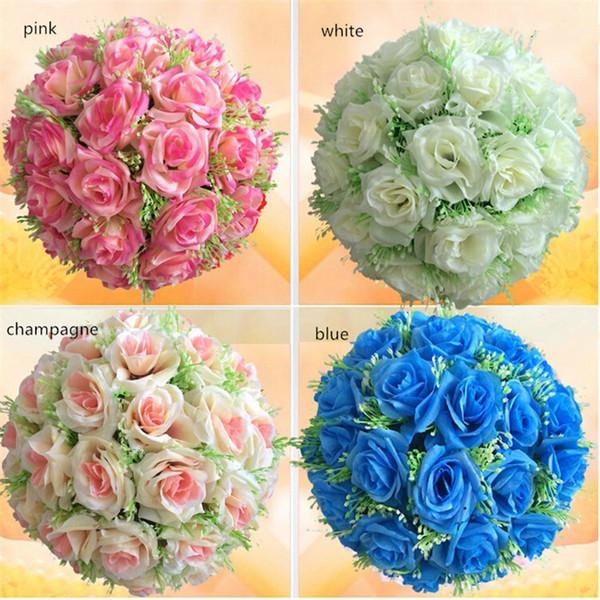 wholesale Handmade 30cm Silk Rose Pomander Flower Ball Bridal Wedding Decor Favor Party Kissing Balls Wedding bouquet 10 pc/lot