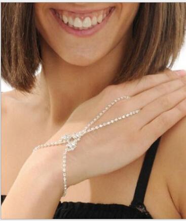 2018 cheap Sparkly Bridal Wedding Artificial bracelets Crystal Rhinestone Jewelry Slave Bracelet Wristband Harness Cuff bracelets for women