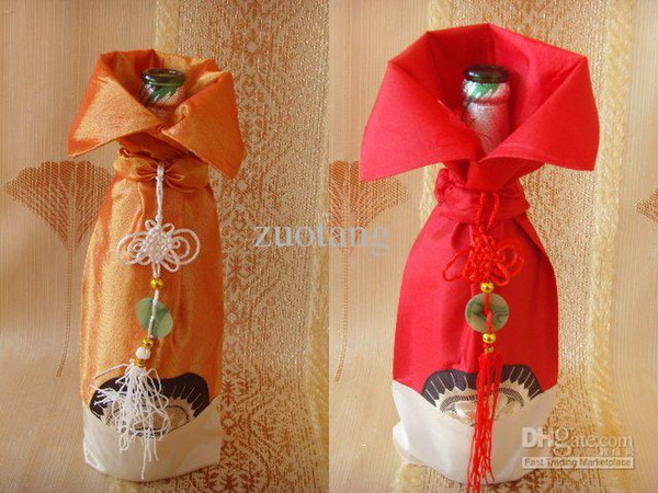 Chine noeud unique Bouteilles de vin Couvre Sacs Satin Tissu Décoration De Table Bouteille Emballage 50pcs / lot couleur de mélange