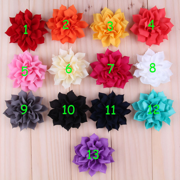 30pcs 3'' Multilayer Chiffon Lotus Flowers Artificial Flatback Fabric Pointed Flowers Children Hair Accessories Corsage/Headbands Flower