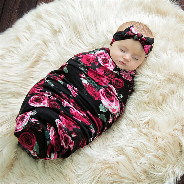 top popular Wholesale- Newborn Infant Baby Swaddle Blanket Baby Cotton Sleeping Swaddle Muslin Wrap + Headband Sleeping Bags 2021