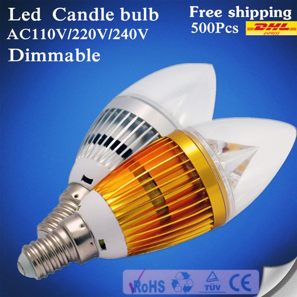 500 DHL FREE LED E14 Candle light E12 E27 B22 9W 12W 15W AC85-265V LED Candle Bulbs lamp Replace Incandescent Light Energy Saving Dimmable