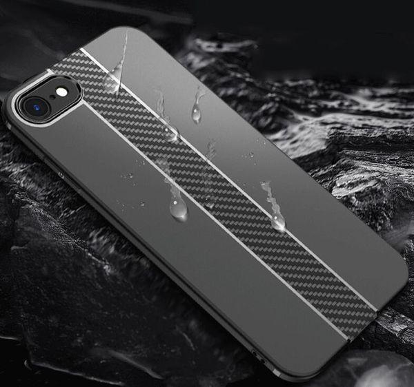 Custodie in fibra di carbonio per iPhone 6 Custodia 6s Plus SE 5 5s Custodie Custodia morbida anti-ribaltamento per iPhone 7 Custodia 7 Plus