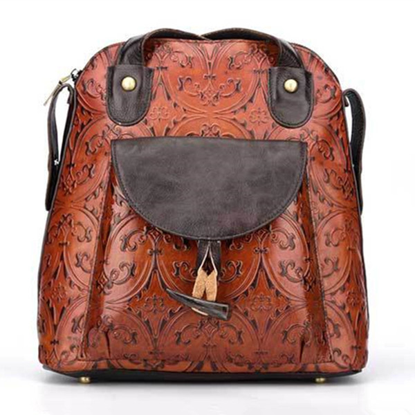 Retro flowers woman backpack 100% genuine cow leather high quality female shoulder duffel embossed bag girl school travel Laptop bags