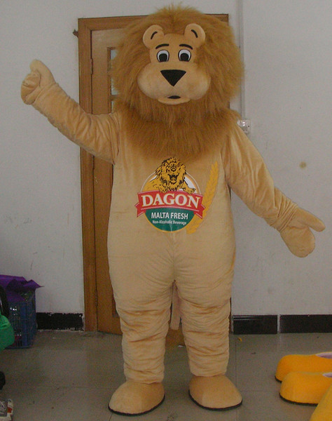 SX0725 100% real picture free shipping lion mascot costume with furry head for adult to wear for sale