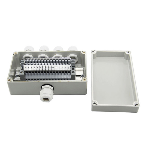top popular IP65 Waterproof Cable Wiring Junction Box 1 in 4 out 158*90*60mm with UK2.5B Din Rail Terminal Blocks 2021