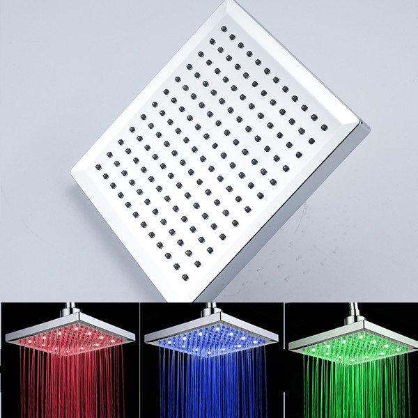 top popular Best Selling High Quality 8 inches ABS Plastic Material Rainfall Shower Head with LED Light Color Changing 2019
