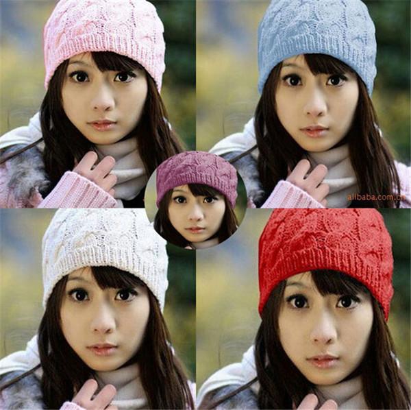 210 unids venta CALIENTE sombrero caliente Mujeres Tejer invierno Cálido Sombrero de Ganchillo Trenzado Boina Beret Beanie Cap D471