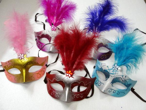 12pcs/lot Lovely feather Rhinestone mask venetian masquerade party gift christmas decoration wedding favor novelty