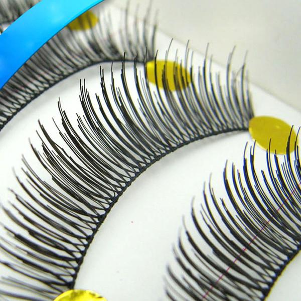 Toptan-1 Kutu / 10 Pairs Kullanımlık El Yapımı Ucuz Yanlış Eyelashes Ve Doğa Kirpik Uzantıları Paragraf Makyaj