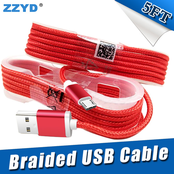 top popular ZZYD 1.5M 5FT Braided USB Micro Charger durable type C Cable For Samsung HTC Sony LG Phones With Metal Head Plug 2021