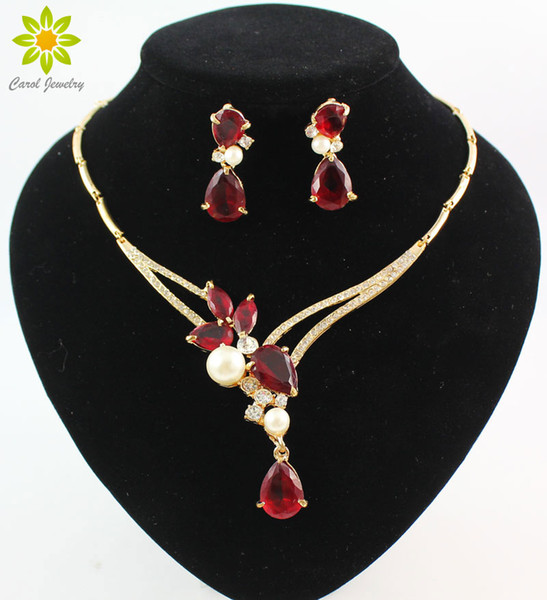 18K Gold überzogene schwarze / blaue / rote / purpurrote Zircon-Korn-Kristallanhänger-Halsketten-Ohrring stellt Art- und Weisefrauen-Partei-Schmucksachen ein