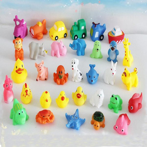 Promotion Sale Mini Rubber Ducks Animals Baby Bath Water Toys For Sale Kids Bath PVC Duck Animals With Sound Floating Duch Wholesale 0061CHR