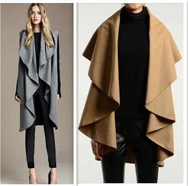 Fashion Women Wool Coat Cape Outdoor Jacket Sexy Shawl Lady Winter Outerwear  Poncho Cloak Clothes Design 0bbcb5f7b